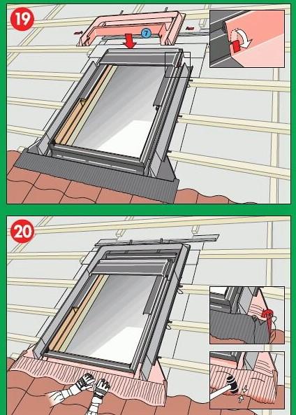 монтаж мансардного окна факро