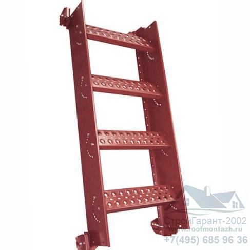 кровельная лестница со ступенями на фальц