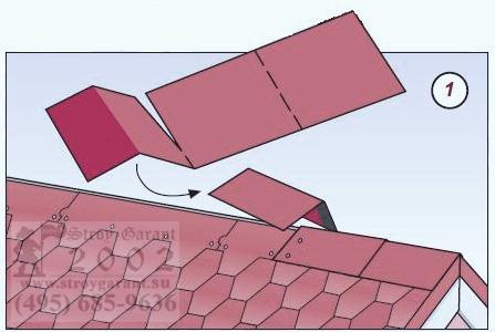 монтаж коньковой плитки